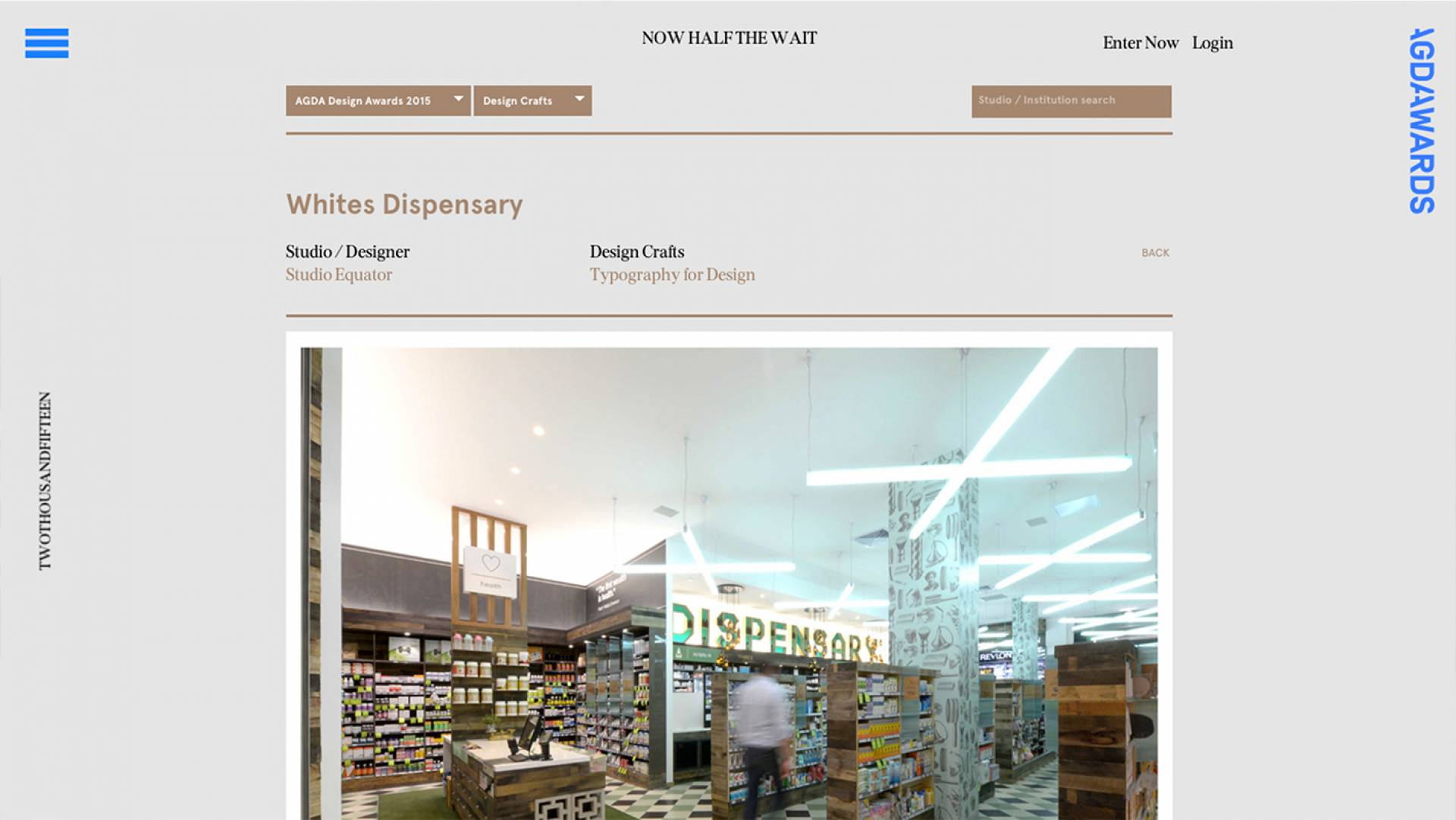 AGDA Awards 2015 Finalists Design Crafts-Whites Dispensary