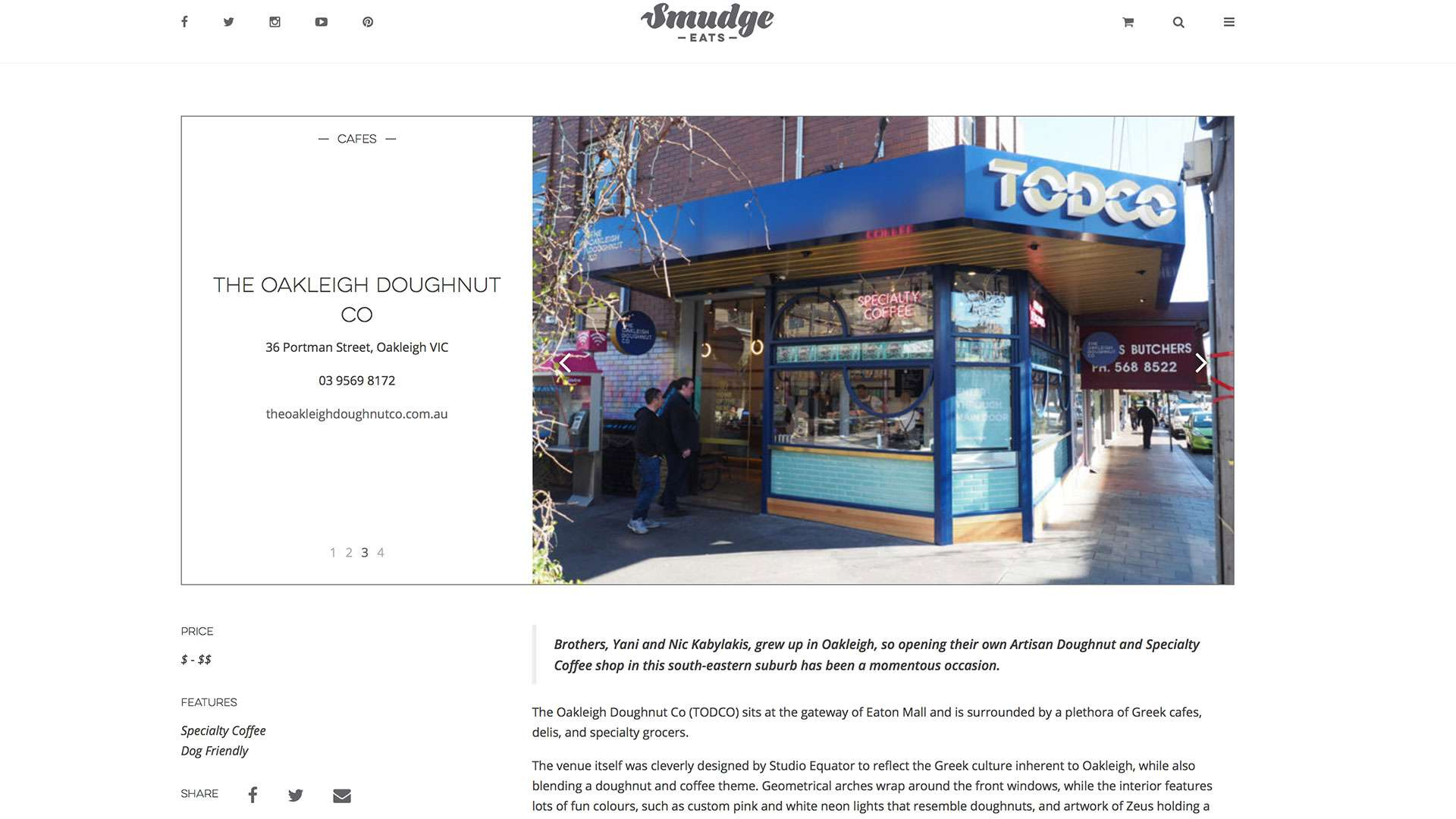TODCO Doughnut Shop Design gets props on Smudgeeats.com